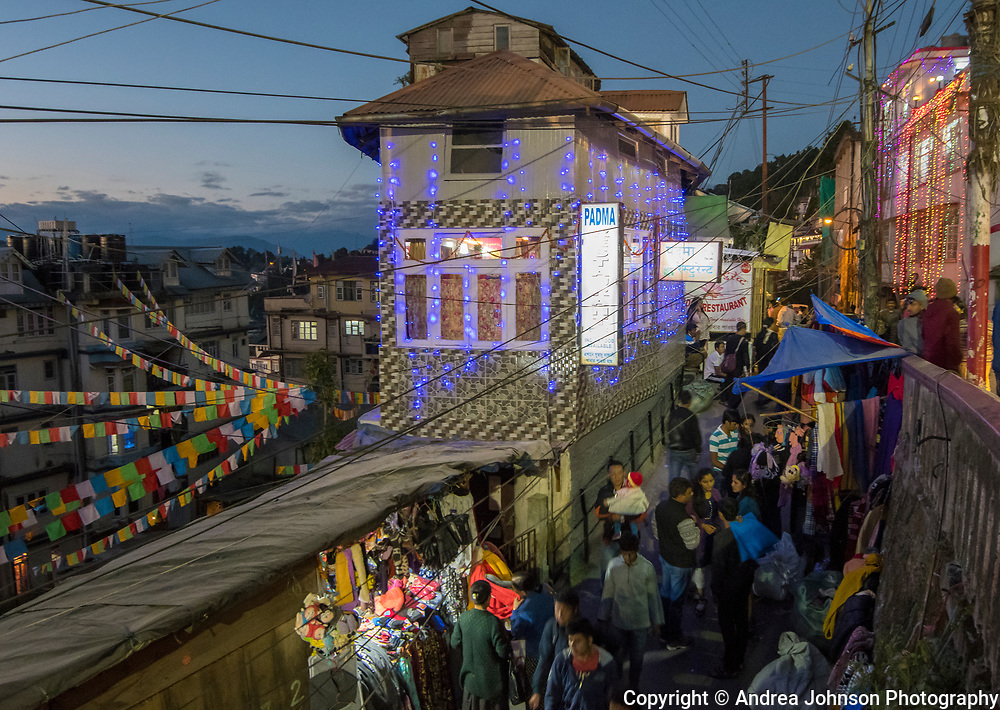 Darjeeling during the Hindu festival of lights, Diwali. It's celebrated every year in autumn in the northern hemisphere, & spiritually signifies the victory of light over darkness, good over evil, knowledge over ignorance, and hope over despair. Its celebration includes millions of lights shining on housetops, outside doors and windows, around temples and other buildings in the communities and countries where it is observed.
