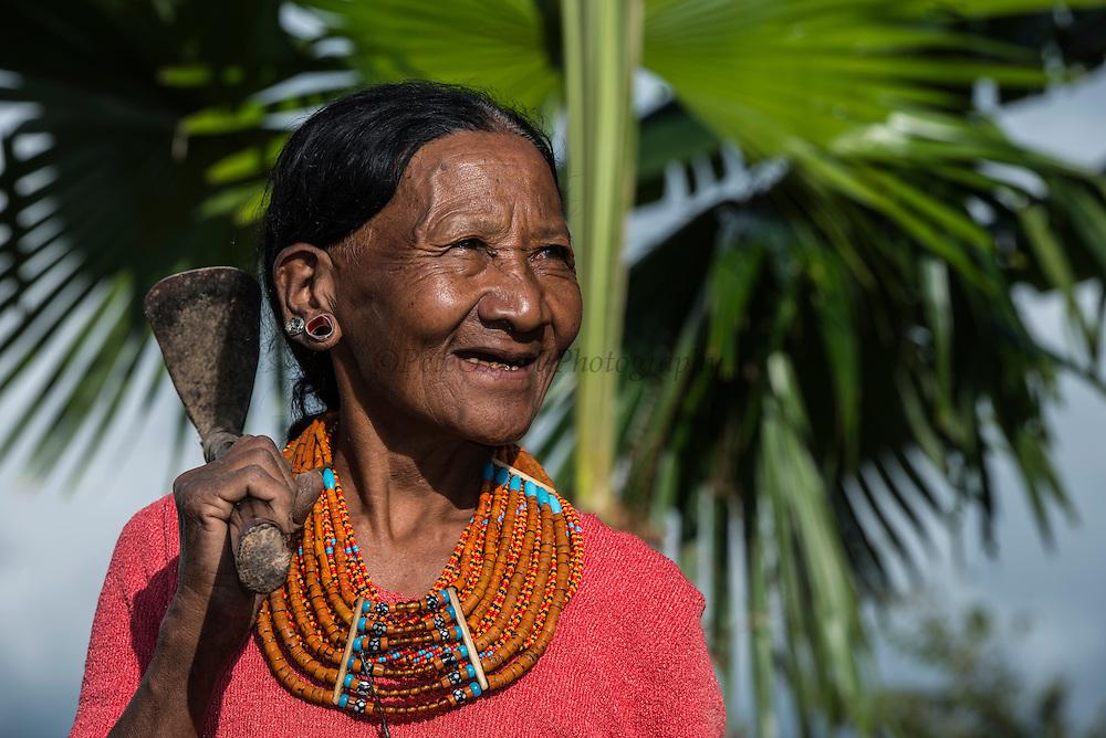 Konyak Naga woman's traditional dress<br /> Konyak Naga headhunting Tribe<br /> Mon district<br /> Nagaland,  ne India