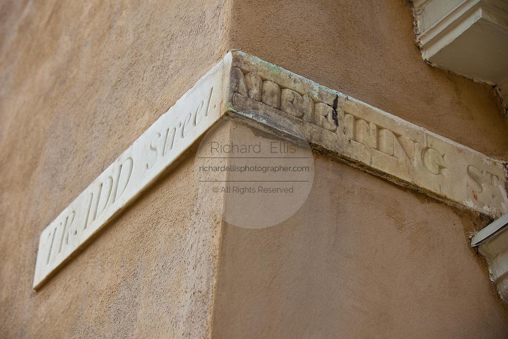 Original marble street marker in Charleston, SC.