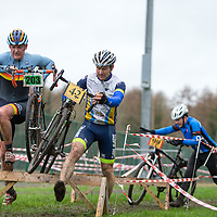 Anthony O'Halloran from Burren CC and Paul Dunne compete during the Ennis CX Cyclocross Race at Lees Rd, Ennis