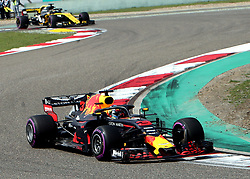 SHANGHAI, April 15, 2018  Red Bull's driver Daniel Ricciardo of Australia competes during the Formula One Chinese Grand Prix in Shanghai, east China, April 15, 2018. Daniel Ricciardo claimed the title of the event in 1 hour, 35 minutes and 36.380 seconds.  dx) (Credit Image: © Fan Jun/Xinhua via ZUMA Wire)