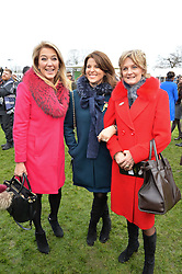 Left to right, VISCOUNTESS DAVENTRY, CHICA HERBERT and LADY LLOYD-WEBBER at the 2015 Hennessy Gold Cup held at Newbury Racecourse, Berkshire on 28th November 2015.