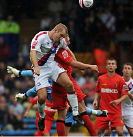 Photo: Tony Oudot/Richard Lane Photography.  Crystal Palace v Watford. Coca-Cola Championship. 09/08/2008. <br /> James Scowcroft heads clear for Crystal Palace