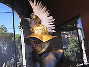 Italy, Rome, Colosseum, reconstruction of gladiator's helmets