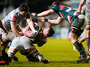 Sale Sharks lock Cobus Wiese is tackled during a Gallagher Premiership Round 7 Rugby Union match, Friday, Jan. 29, 2021, in Leicester, United Kingdom. (Steve Flynn/Image of Sport)