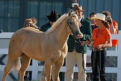 Olympic Champion Dressage Anky Van Grunsven leading Whizashiningwalla BB for the vet check at the Alltech FEI World Equestrian Games - Lexington - Kentucky 2010<br /> © Dirk Caremans