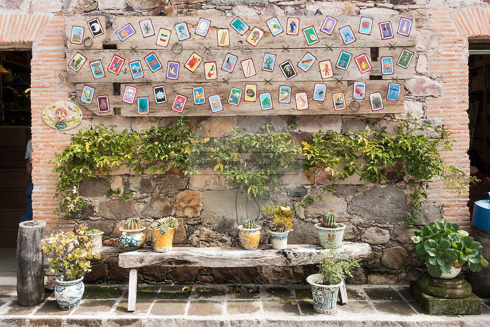 Art galleries and design studios at Fabrica La Aurora in San Miguel de Allende, Mexico.