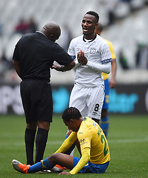 Cape Town-180825- Cape Town City player Teko Modise booked after a bad tackle on Mamelodi Sundowns Sphelele Mkhulise  in the MTN 8 semi-final at Cape Town Stadum.Photographer :Phando Jikelo/African News Agency/ANA