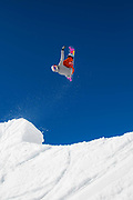 British freestyle snowboarder Katie Ormerod during spring training on 05th May 2017 in Corvatsch, Switzerland. Piz Corvatsch is a mountain in the Bernina Range of the Alps, overlooking Lake Sils and Lake Silvaplana in the Engadin region of the canton of Graubünden.
