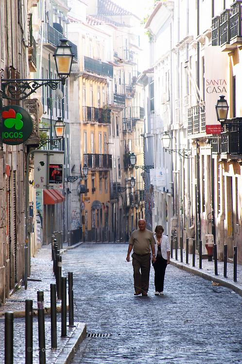 narrow streets and houses bairro alto lisbon portugal