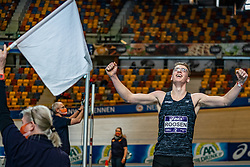 Sven Roosen in action on high jump during the all-around at the Dutch Athletics Championships on 13 February 2021 in Apeldoorn