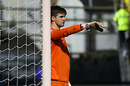 Marine goalkeeper Bayleigh Passant (1) points directions during the The FA Cup match between Marine and Havant & Waterlooville FC at Marine Travel Arena, Great Crosby, United Kingdom on 29 November 2020.