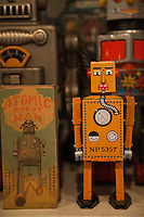 Teruhisa Kitahara's collection of 3,000 tin toys produced from the 1890's to the 1960's is displayed here. Christmas goods can be purchased at any time of the year at 'Christmas Toys'.