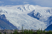 Stairway Icefalls in the Wrangell Mountains in Wrangell-St. Elias National Park from Kennicott, Alaska.