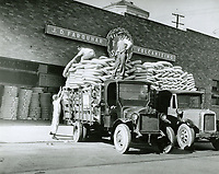 1931 Tire trucks at Hollywood Tire Shop at 6472 Sunset Blvd. before the Wilcox Ave. location was built.