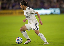 April 21, 2018 - Orlando, FL, U.S. - ORLANDO, FL - APRIL 21: San Jose Earthquakes midfielder Jahmir Hyka (10) looks to pass the ball during the MLS soccer match between the Orlando City FC and the San Jose Earthquakes at Orlando City SC on April 21, 2018 at Orlando City Stadium in Orlando, FL. (Photo by Andrew Bershaw/Icon Sportswire) (Credit Image: © Andrew Bershaw/Icon SMI via ZUMA Press)