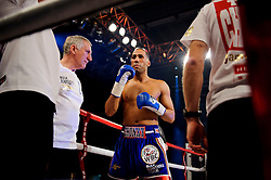 James DeGale (blue shorts) looks on befor he fights Gevorg Khatchikian (white shorts) going on to defend his WBC Silver super middleweight title with an 11th round stoppage<br />  - Photo mandatory by-line: Rogan Thomson/JMP - Tel: 07966 386802 - 01/03/2014 - SPORT - BOXING - The City Academy, Bristol - James DeGale v Gevorg Khatchikian.