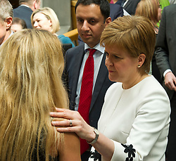 Pictured: Kim Leadbeater was comforted by the First Minister<br /> <br /> Kim Leadbeater was in the Scottish Parliament today tol thank all Scotland's party leaders for putting their disagreements to one side and coming together to support stronger communities in memory of her sister, Jo Cox, who was murdered three years ago.<br /> <br /> <br /> Ger Harley | EEm 2 May 2019
