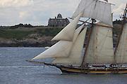 """Newport, RI 2007 - Tallship """"Pride of Baltimore  II"""" - Tallships from around the world congregate in Newport for the summer of 2007 Tallshiops festival."""
