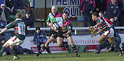 Twickenham, Surrey, UK., 19.01.2002, Quin's Matt Moore, finds a gap, in the Tigers defence to attack, during the, Harlequins vs Leicester Tigers Powergen National Cup Rugby match, played at the, Stoop Memorial Ground, [Mandatory Credit: Peter Spurrier/Intersport Images],