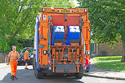 © Licensed to London News Pictures 29/07/2021. Bexley, UK. Serco refuse collectors who are not on strike working today in Bexley. Household waste continues to pile up in the London borough of Bexley as binmen announce new strike dates in August. The workers have already been on strike for weeks and are striking over pay and victimisation of staff but employer Serco has failed to enter into negotiations. Photo credit:Grant Falvey/LNP