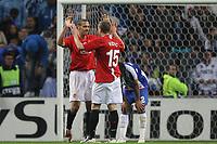 20090415: PORTO, PORTUGAL - FC Porto vs Manchester United: Champions League 2008/2009 Ð Quarter Finals Ð 2nd leg. In picture: Ferdinand and Vidic celebrating. PHOTO: Ricardo Estudante/CITYFILES