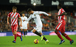 November 3, 2018 - Valencia, Valencia, Spain - Gonzalo Guedes of Valencia CF and Pere Pons of Girona FC during the La Liga match between Valencia CF and Girona FC at Mestala Stadium on November 3, 2018 in Valencia, Spain (Credit Image: © AFP7 via ZUMA Wire)