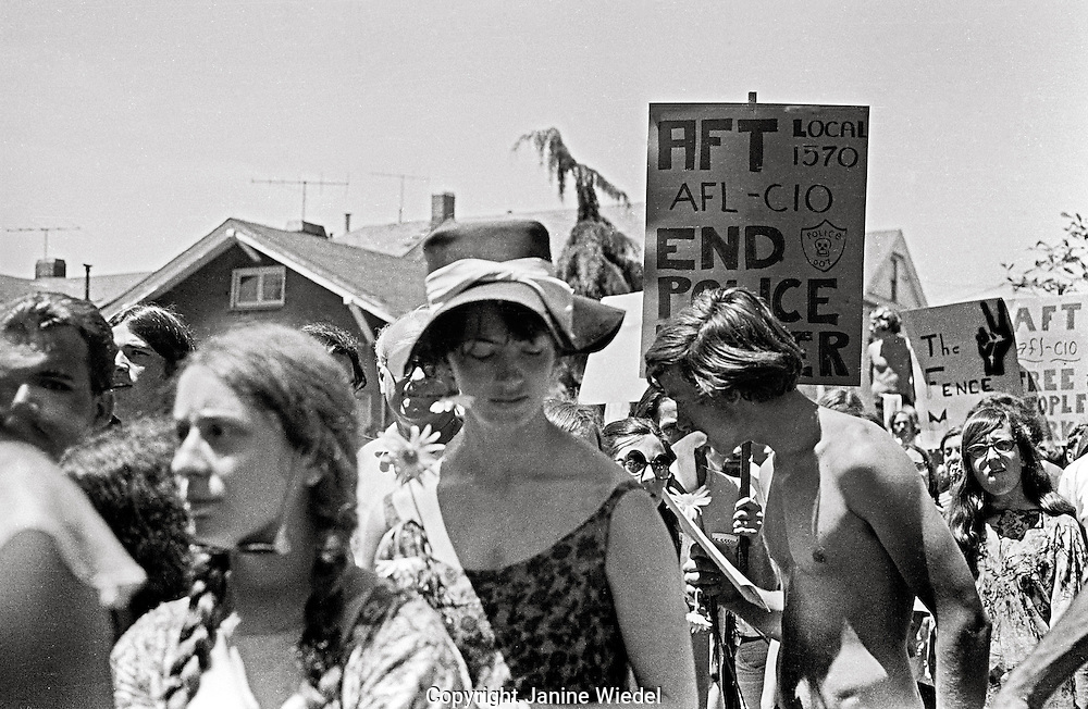 30,000 people march through town on Memorial day following  Peoples Park Student protest & riots in Berkeley California May 30 1969