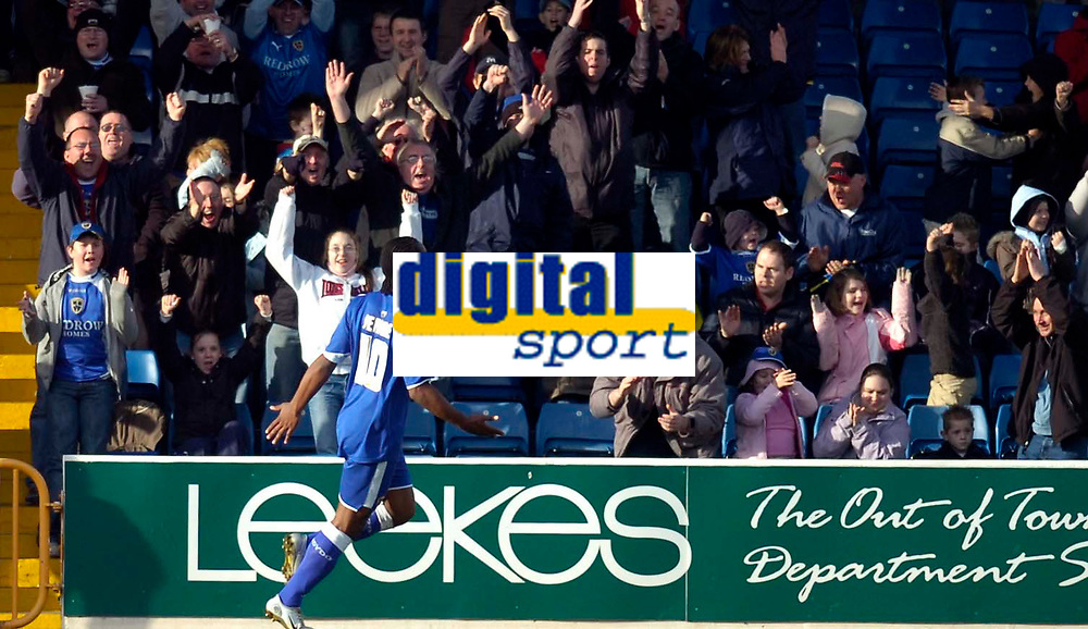 Photo: Alan Crowhurst.<br />Cardiff City v Hull FC. Coca Cola Championship. 18/02/2006. <br />Cameron Jerome celebrates after he scores the first goal of the match for Cardiff.