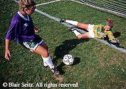 Outdoor recreation, soccer, girls soccer Middle-High School Girls Soccer Competition, Goalie Blocks Kick, York Co., PA