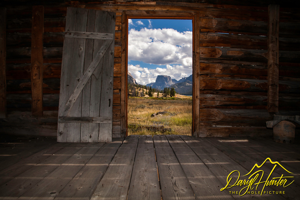 An old deserted homestead in the Wind River Mountains near Pinedale Wyoming does a nice job of framing Square Top Peak beyond.