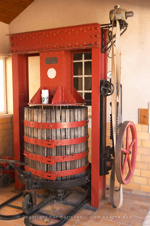 A wine press that is also some100 years old. It produces a pressure of 170 bar and is still used - Chateau Haut Bergeron, Sauternes, Bordeaux