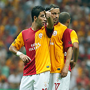 Galatasaray's Arda TURAN (L) and Tomas UJFALUSI (R) during their Friendly soccer match Galatasaray between Liverpool at the TT Arena at Arslantepe in Istanbul Turkey on Saturday 28 July 2011. Photo by TURKPIX