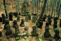 Buddha statues nestle beneath a bamboo grove at the Sekihoji Temple on the southeastern edge of  Kyoto