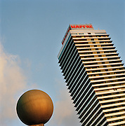 The Torre Mapfre office building and sculpture, by the the Olympic Port in Barcelona, Spain