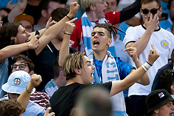February 23, 2019 - Melbourne, VIC, U.S. - MELBOURNE, VIC - FEBRUARY 23: City fans cheer on as they score the opening goal at round 20 of the Hyundai A-League Soccer between Melbourne City FC and Melbourne Victory on February 23, 2019 at Marvel Stadium, VIC. (Photo by Speed Media/Icon Sportswire) (Credit Image: © Speed Media/Icon SMI via ZUMA Press)