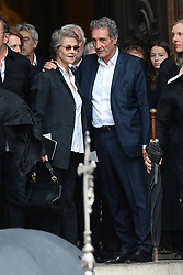 Charlotte Rampling and Jean Jacques Bourdin leaving the funeral service for late photographer Peter Lindbergh held at Saint Sulpice church in Paris, France on September 24, 2019. Photo by ABACAPRESS.COM