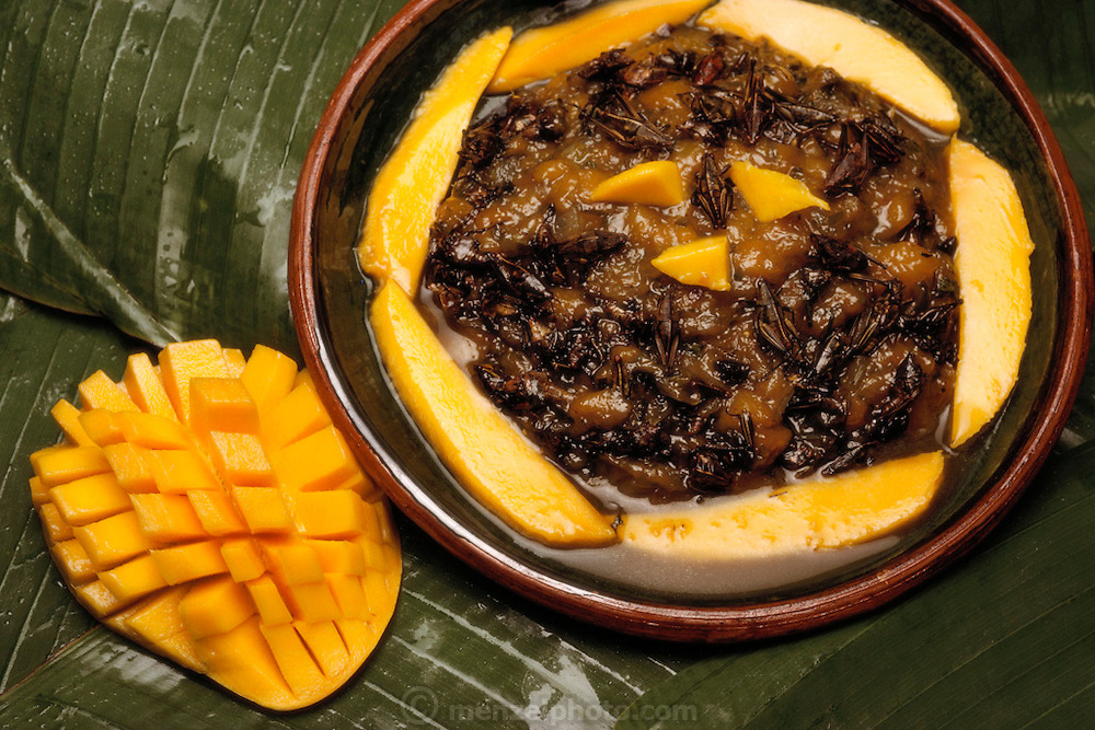 Mango-Grasshopper Chutney prepared by Julieta Ramos-Elorduy, an entomologist in her Mexico City kitchen. She created a cookbook of recipes using insects. Mexico City, Mexico. Image from the book project Man Eating Bugs: The Art and Science of Eating Insects.