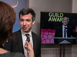 February 17, 2019 - Los Angeles, California, United States of America - Nathan Fielder winner of Comedy/Variety Sketch Series, in interviewed in the press room of the 2019 Writers Guild Awards at the Beverly Hilton Hotel on Sunday February 17, 2019 in Beverly Hills, California. JAVIER ROJAS/PI (Credit Image: © Prensa Internacional via ZUMA Wire)