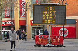 © Licensed to London News Pictures 23/01/2021.        Bexleyheath, UK. A large digital display screen in Bexleyheath Broadway, South East London warning people about the dangers of Coronavirus and how to act during this third lockdown. Photo credit:Grant Falvey/LNP