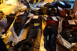 November 20, 2016 - Pukhrayan, Kanpur, India - dead bodies of victims lying down  , in a district mortuary in Pukhrayan, some 60 kms from Kanpur, on November 20,2016. Indore Patna express train derailed on sunday's early morning. more than 200 people died and several injured, according to officials  (Credit Image: © Ritesh Shukla/NurPhoto via ZUMA Press)