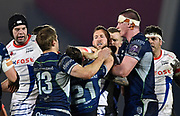 Connacht's Caolin Blade fights with Sale Sharks wing Byron McGuigan during a European Challenge Cup Quarter Final match won by Sale 20-10 in Eccles, Greater Manchester, United Kingdom, Friday, March 29, 2019.  (Steve Flynn/Image of Sport)