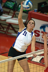 12 November 2006: Amy Sampson with a powerful strike. In the final regular season home game at ISU, the Northern Iowa Panthers defeated the Illinois State Redbirds 3 game to 1. The match took place at Redbird Arena on the campus of Illinois State University in Normal Illinois.<br />