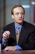 Former White House advisor Paul Begala discusses the year 2000 presidential campaign during NBC's Meet the Press April 11, 1999 in Washington, DC. Begala is now a columnist for George Magazine.