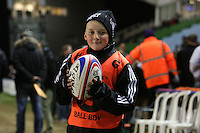 Rugby Union - 2012 Rugby Legends Match - British & Irish Legends vs. French Legends.A ball boy poses for a picture at Twickenham Stoop, London