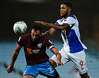 Scunthorpe United's Rory McArdle under pressure from Blackburn Rovers' Dominic Samuel<br /> <br /> Photographer Chris Vaughan/CameraSport<br /> <br /> The EFL Sky Bet League One - Scunthorpe United v Blackburn Rovers - Tuesday 12th September 2017 - Glanford Park - Scunthorpe<br /> <br /> World Copyright © 2017 CameraSport. All rights reserved. 43 Linden Ave. Countesthorpe. Leicester. England. LE8 5PG - Tel: +44 (0) 116 277 4147 - admin@camerasport.com - www.camerasport.com