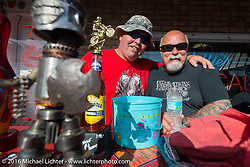 """MC Roadside Marty Davis and Dave Perewitz at Willie's Tropical Tattoo """"Chopper Time"""" old school chopper show during Daytona Bike Week's 75th Anniversary event. Ormond Beach, FL, USA. Thursday March 10, 2016.  Photography ©2016 Michael Lichter."""