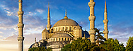 The Sultan Ahmed Mosque (Sultanahmet Camii) or Blue Mosque, Istanbul, Turkey at sunset. Built from 1609 to 1616 during the rule of Ahmed I.<br /> <br /> If you prefer to buy from our ALAMY PHOTO LIBRARY  Collection visit : https://www.alamy.com/portfolio/paul-williams-funkystock/blue-mosque-istanbul.html<br /> <br /> Visit our TURKEY PHOTO COLLECTIONS for more photos to download or buy as wall art prints https://funkystock.photoshelter.com/gallery-collection/3f-Pictures-of-Turkey-Turkey-Photos-Images-Fotos/C0000U.hJWkZxAbg
