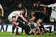 England's Owen Farrell stops New Zealand's Ryan Crotty just short of the line before New Zealand's Charlie Faumuina goes on to finish - QBE Autumn Internationals - England vs New Zealand - Twickenham Stadium - London - 08/11/2014 - Pic Charlie Forgham-Bailey/Sportimage