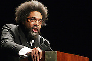 """April 18, 2012- New York, NY : Dr. Cornel West, professor of religion and African-American studies at Princeton University attends the Tavis Smiley and Cornel West Talk and Booksigning of their co-authored new book ' The Rich & the Rest of Us: A Poverty Manifesto ' presented by Dr. Brenda Greene and the National Black Writers Conference held at the Slyvia and Danny Kaye Playhouse at Hunter College (CUNY) on April 20, 2012 in New York City. ..The latest census data shows nearly one in two Americans, or 150 million people, have fallen into poverty  or could be classified as low income. Dr. Cornel West and Tavis Smiley, who continue their efforts to spark a national dialog on the poverty crisis with the new book, """"The Rich and the Rest of Us: A Poverty Manifesto."""" (Photo by Terrence Jennings).."""